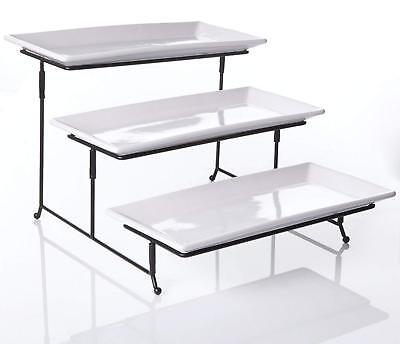 3 Tier Serving Tray - 3 Tier Serving Tray - Collapsible Thicker Sturdier Plate Rack Stand w/ Platters