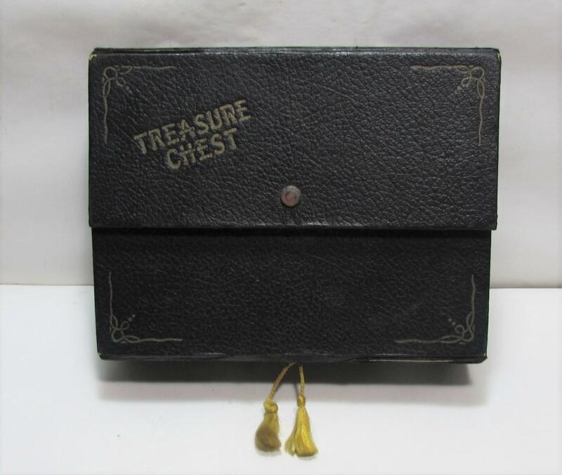 """Vintage Leather Bound Treasure Chest Box w/ Fold Out Top - 7 3/4"""" x 6"""" x 2 1/4"""""""