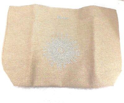 Guerlain Canvas Beige Tote Bag Handbag w/ Gold Trim Sunburst Orange Lining - Beige Tote Bag
