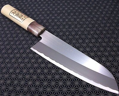 Japanese Santoku Kitchen Knife TERUHIDE Wooden Handle Carbon Steel Made in Japan