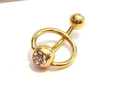 Gold Titanium CZ Dangle Curved Barbell Bar VCH Clit Clitoral Hood Ring 14 gauge