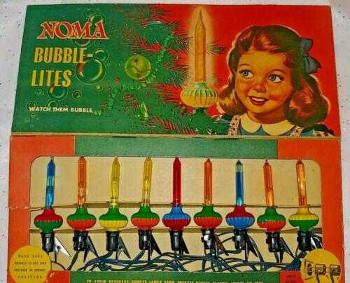 Rare Vintage Original Noma 9 Christmas Bubble Light Lite C6 Set Box Glass Slugs