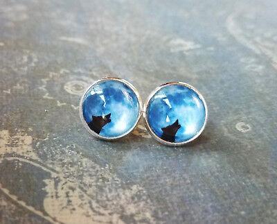 Blue Moon Wolf Cabochon Stud Earrings,Halloween,Earring Post - Post Halloween Blues