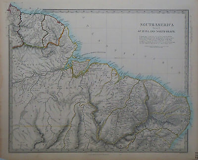 1847 Genuine Antique hand colored maps of South America. 5 pages. SDUK