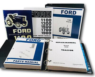 Ford 1100 Tractor Service Operators Parts Manual Supplement Set Repair Shop Book