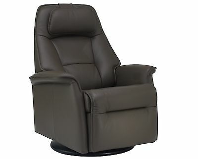 Fjords Stockholm Swing Relaxer Power Electric Recliner Chair Dark Brown Leather