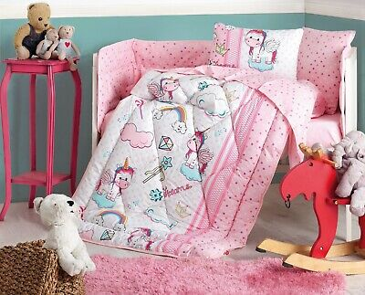 100% Cotton Unicorn Bedding Quilt/Comforter Set for Cribs Baby Bed Set Pink 6pcs
