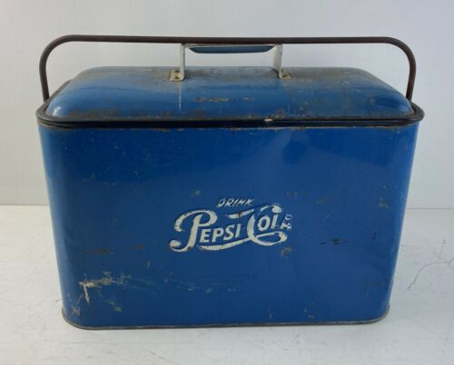 1950s Vintage Pepsi Cooler Ice Chest w. Bottle Opener Blue Man Cave Advertising