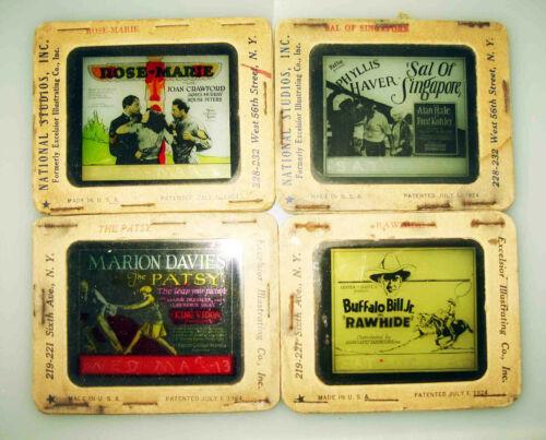 4 Theater MOVIE Advertising MAGIC LANTERN SLIDES w/ JOAN CRAWFORD/MARION DAVIES