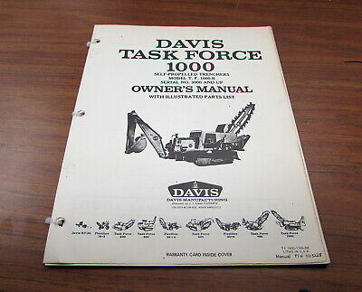 Davis Case Task Force 1000 Self-propelled Trenchers Owners Owners Manual