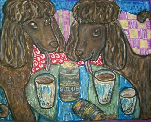 IRISH WATER SPANIEL Drinking Guinness Dog Pop Vintage Art 8 x 10 Signed Print