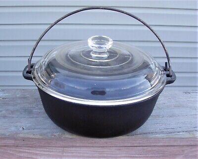 Cast Iron  Bean Pot  WAGNER WARE      Glass Top, Bale Handle
