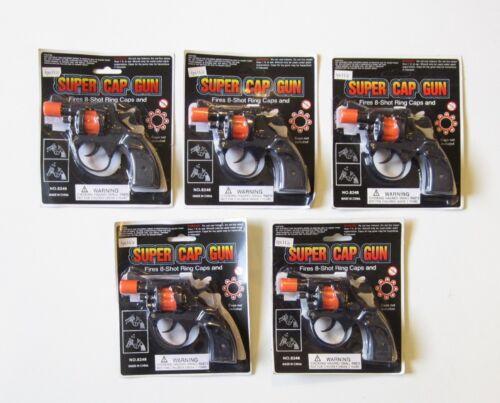 5 NEW SUPER CAP GUNS TOY PISTOL HANDGUN FIRES 8 SHOT RING CAPS KIDS REVOLVER