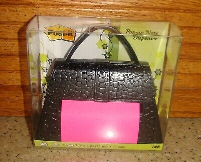 Post-it Pop-up Note Dispenser Black Purse With 1 Pad Of Pink Notepaper New