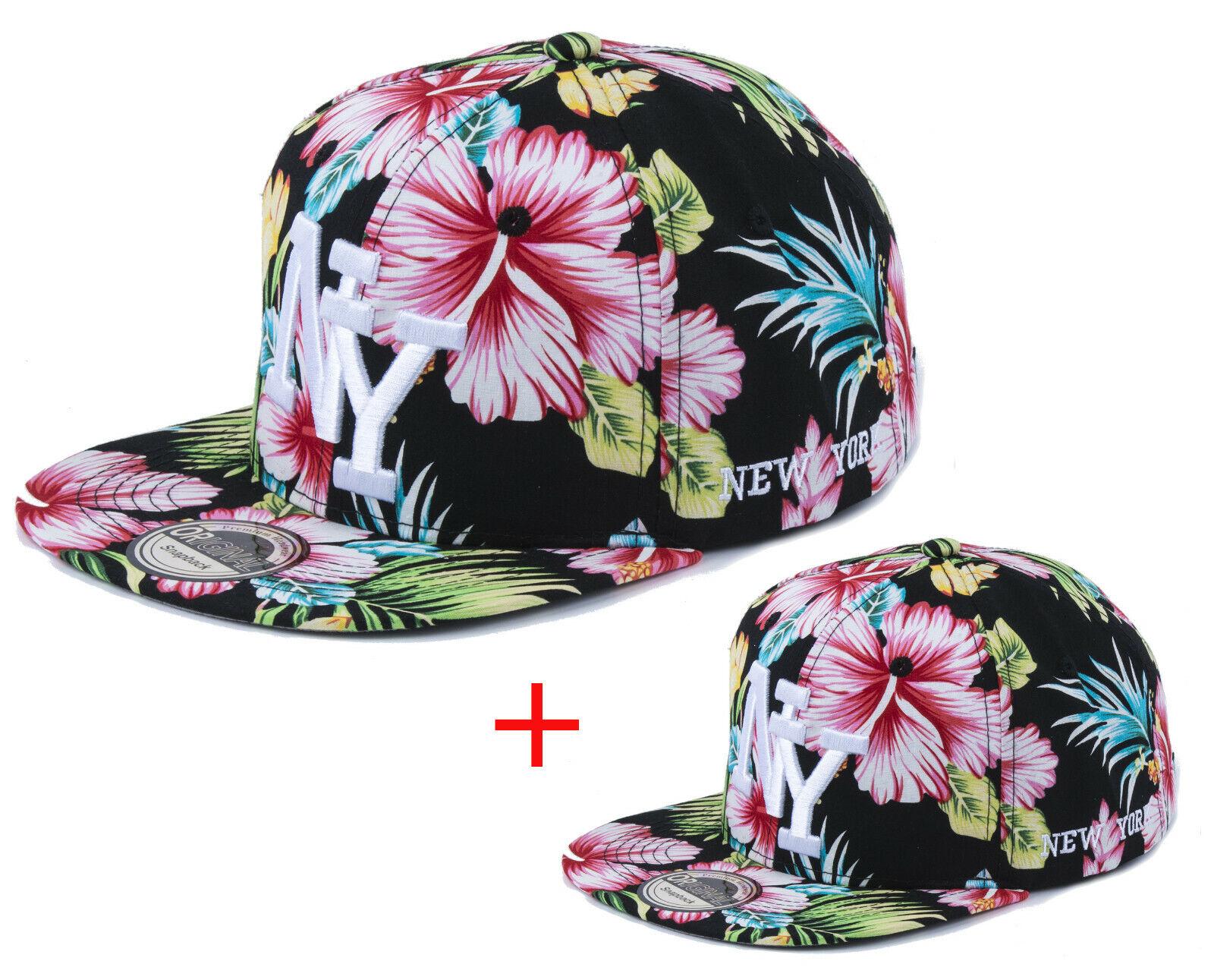 Vater + Sohn Cappy Set Herren Junge klein + groß Kappe Cap NY New York Hawaii
