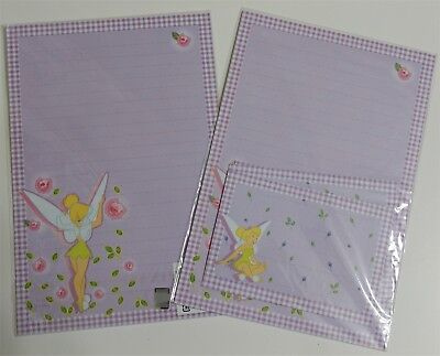 Disney Fairy Tinkerbell Stationery Envelop Stationary Lined Letter Set Leaf Rose