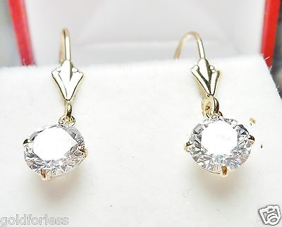 14kt Solid Yellow Gold Leverback w/Dangling Basket Set 6M Cubic Zirconia Earring 14kt Solid Yellow Gold Earring