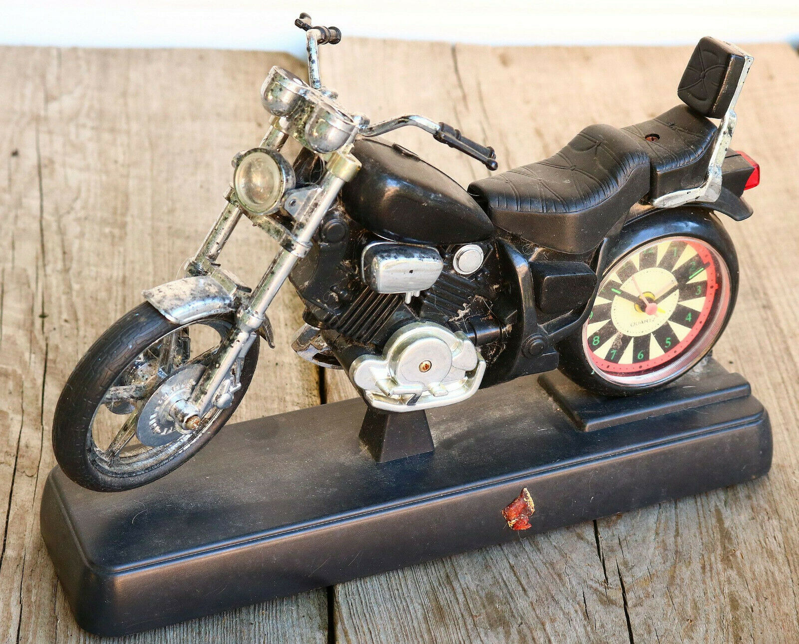 VINTAGE Motorcycle Toy Model BATTERY Desk Clock Biker Gift 70s Old Display AY