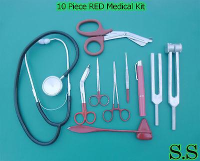 10 Piece Red Medical Kit - Diagnostic Emt Nursing Surgical Ems Student Paramedic