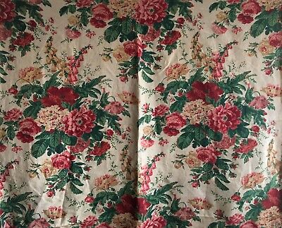 Absolutely Beautiful 1930's English or French Printed Linen Floral Fabric (2345)