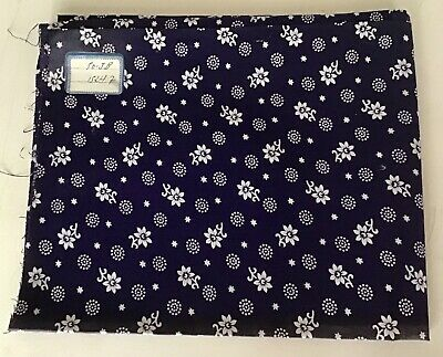 Antique vintage french 1920s navy & white cotton fabric flower & dot pattern