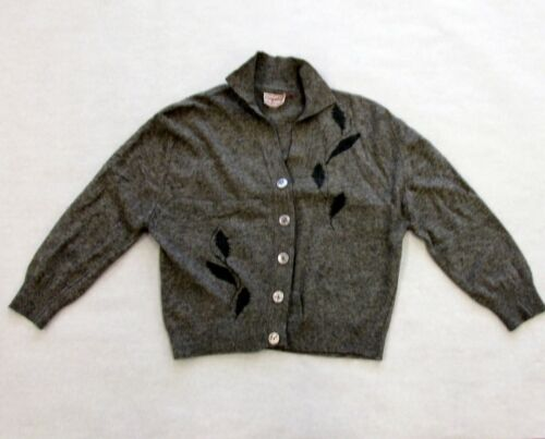 Vintage 50s Kingsley Lambs Wool Fur Blend Grey Button Up Sweater 3/4 Sleeve M