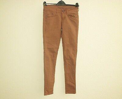 BERSHKA DENIM Stoffhose Strechhose Skinny Jeggings Jeans braun camel XS 34 (Braune Denim-stoff)