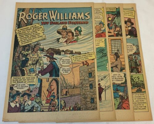 1942 seven page cartoon story ~ ROGER WILLIAMS New England Firebrand