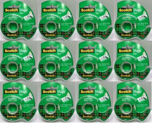 "LOT OF 12 SCOTCH MAGIC TAPE INVISIBLE MATTE FINISH 3/4"" X 500"" IN (13.8 YDS) EA"