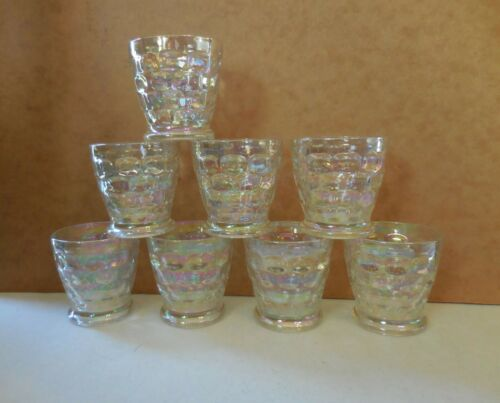8 Federal Yorktown iridescent barware cocktail  rocks glasses mid century modern