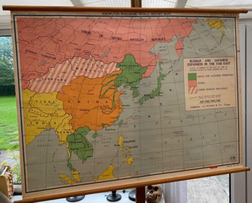 ORIGINAL VINTAGE MAP OF ASIA HISTORYJAPANESE & RUSSIAN EXPANSION IN ASIA WW2