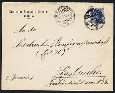 Italy 1912 25c Imperial German Consulate Venice Railway CDS to Karlsruhe