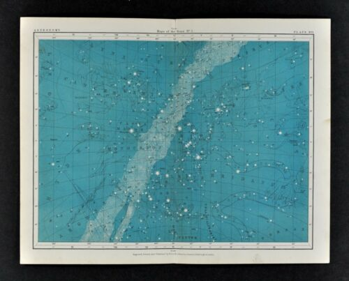 1855 Johnston Astronomy Star Map 16 Constellations Zodiac Milky Way Orion Gemini