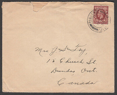 Great Britain - 1936 cover Posted at Sea - Paquebot to Canada