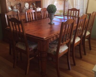 Timber Country Dining Suite 8 Chairs With Matching Buffet Hutch