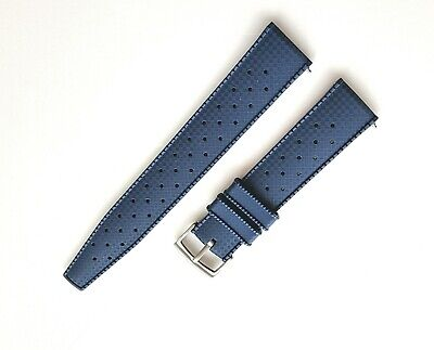 Navy Blue Premium FKM Rubber Tropical retro silicone watch strap 20mm *UK*