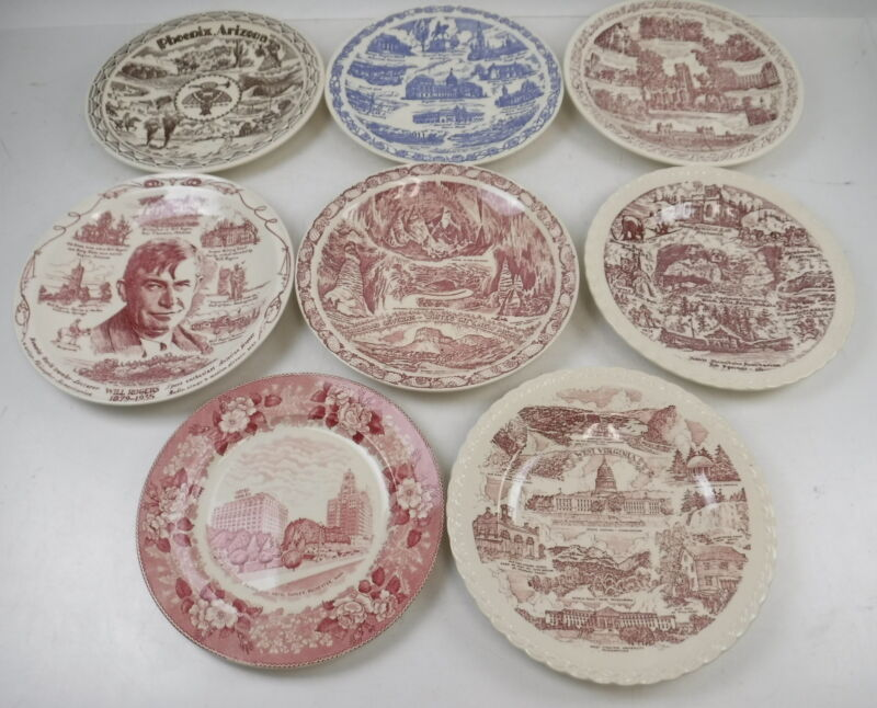 Lot of 8 Vernon Kilns Decorative Plates Indiana State Song Carlsbad Caverns