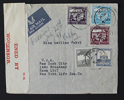 Palestine Jerusalem 1941 To United States, High Franking Censored Cover  #a426