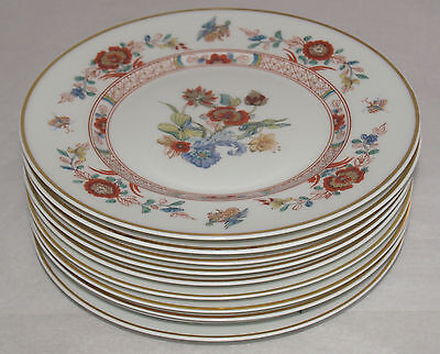 VINTAGE HAVILAND PORCELAIN CATHAY PATTERN GOLD TRIM SET OF 8 DINNER PLATES