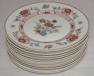 VINTAGE HAVILAND PORCELAIN CATHAY PATTERN GOLD TRIM SET OF 8 DINNER PLATES