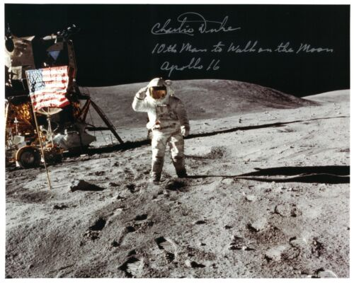 NASA Charlie Duke Apollo 16 Signed Lunar Surface Photo 10th Man to Walk on Moon