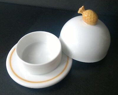 Laure Japy Butterglocke Ananas, rund klein, Limoges Porzellan, Weiß-Gelb - NEU