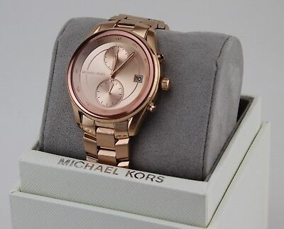 NEW AUTHENTIC MICHAEL KORS BRIAR CHRONOGRAPH ROSE GOLD WOMENS MK6465 WATCH