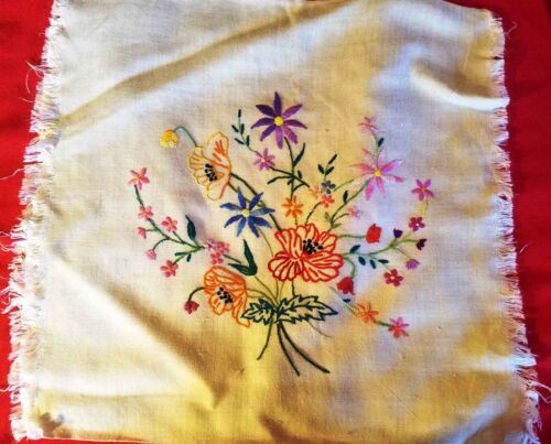 3 Vintage hand Embroidered on cotton Flower Bouquets Ready to Cover 3 pillows