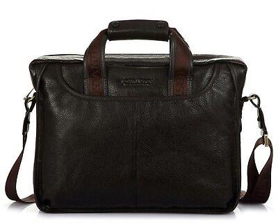 Men's Geniune Leather Briefcase Business Cases Shoulder Messenger Laptop -