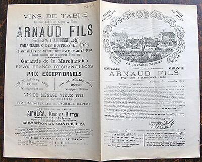 Cognac Fins - ARNAUD FILS, Narbonne, (Aude), VINS FINS , EAU DE VIE, COGNAC ET RHUM, 1885. pre