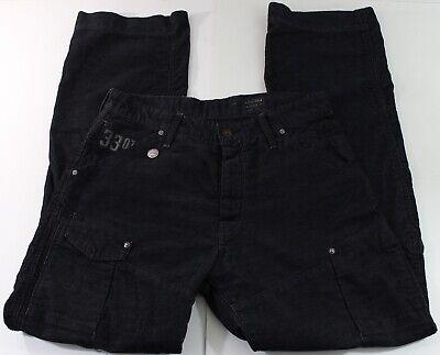 G-STAR Pants Men Sz 34 x 34 Corduroy Arc 3D Loose Black Button Fly Roll-Up Cargo