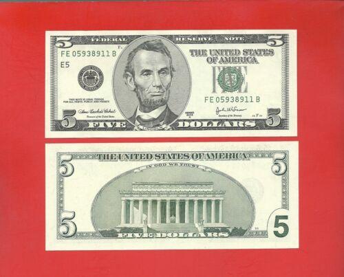 FRN 2003A $5 -- FE/B (fw) -- Uncirculated