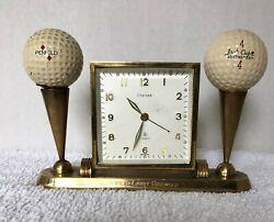 1958 Chelsea Desk Alarm Clock Golf Tournament Trophy Brass