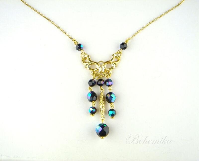 Vintage Art Nouveau Deco Style Gold Tone Necklace Blue Czech Glass Butterfly